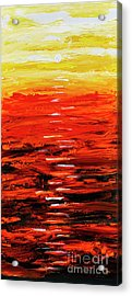 Acrylic Print featuring the painting Flaming Sunset Abstract 205173 by Mas Art Studio