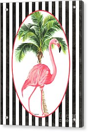 Acrylic Print featuring the painting Flamingo Amore 7 by Debbie DeWitt