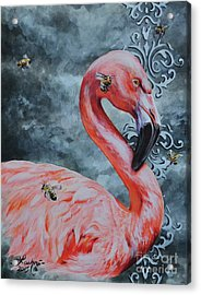 Flamingo And Bees Acrylic Print