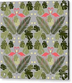 Flamingo And Palms Acrylic Print