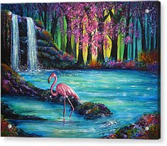 Flamingo Falls Acrylic Print by Ann Marie Bone
