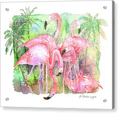 Flamingo Five Acrylic Print by Arline Wagner