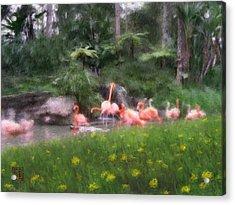 Flamingo Garden Acrylic Print