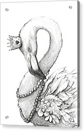 Flamingo In Pearl Necklace Acrylic Print