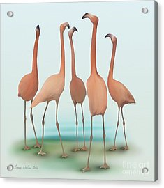 Acrylic Print featuring the painting Flamingo Mingle by Ivana Westin