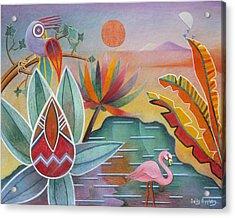 Flamingo Oasis Acrylic Print by Sally Appleby