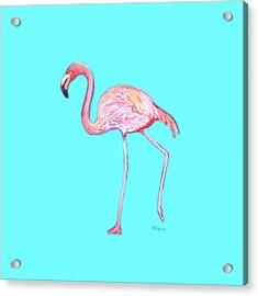 Flamingo On Blue Acrylic Print
