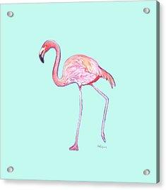 Flamingo On Mint Background Acrylic Print