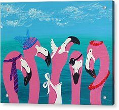 Acrylic Print featuring the painting Flamingo Party by Katherine Young-Beck