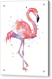 Flamingo Watercolor Facing Right Acrylic Print