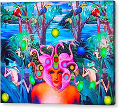 Flamingodeusa In The Neon Jungle Acrylic Print