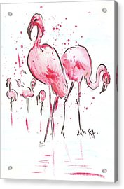 Flamingoes Acrylic Print by Remy Francis