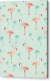 Flamingos And Palm Trees Acrylic Print