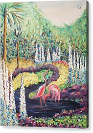 Flamingo's In Florida Acrylic Print by Suzanne  Marie Leclair