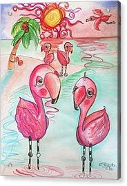 Flamingos In The Sun Acrylic Print