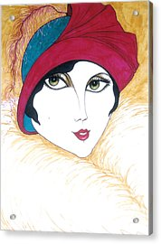 Acrylic Print featuring the greeting card Flapper Girl 1 by Rae Chichilnitsky
