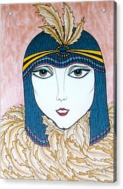 Acrylic Print featuring the greeting card Flapper Girl 2 by Rae Chichilnitsky