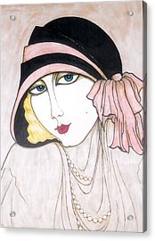 Acrylic Print featuring the greeting card Flapper Girl 3 by Rae Chichilnitsky