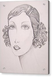 Acrylic Print featuring the drawing Flapper Girl by Leslie Manley