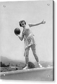 Flapper Playing Basketball Acrylic Print by Underwood Archives