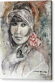 Flapper With Peony Acrylic Print