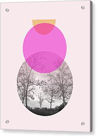 Flare In Pink And Yellow- Art By Linda Woods Acrylic Print by Linda Woods