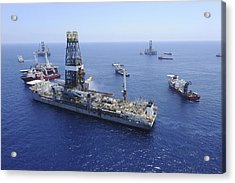 Flaring Operations Conducted Acrylic Print by Stocktrek Images