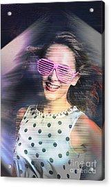 Flashback Of The Retro Hologram Girl Acrylic Print
