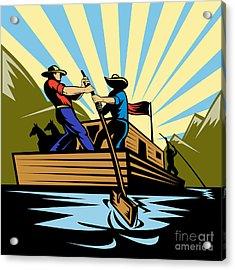Flatboat Along River Acrylic Print by Aloysius Patrimonio