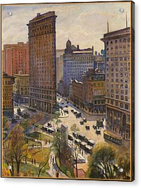 Acrylic Print featuring the painting Flatiron Building New York By Samuel Halpert by Samuel Halpert