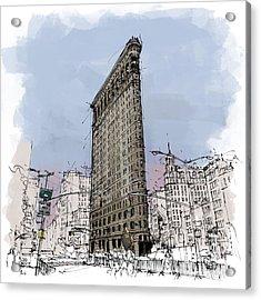 Flatiron Building, New York Sketch Acrylic Print by Pablo Franchi