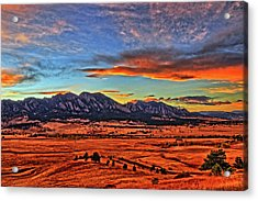 Acrylic Print featuring the photograph Flatiron Sunset Fire Red by Scott Mahon