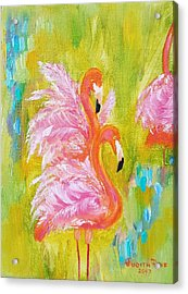 Acrylic Print featuring the painting Flaunting Feathers by Judith Rhue