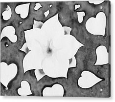 Acrylic Print featuring the painting Fleur Et Coeurs Monochrome by Marc Philippe Joly