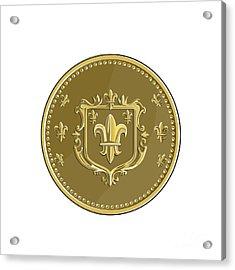 Fleur De Lis Coat Of Arms Gold Coin Retro Acrylic Print