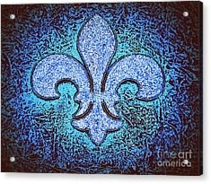 Fleur De Lis - Crystal Blue Ice On Black Acrylic Print