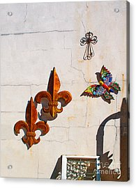 Fleur Di Lis And Butterfly Acrylic Print