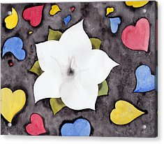 Acrylic Print featuring the painting Fleur Et Coeurs by Marc Philippe Joly