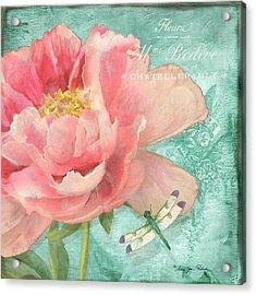 Fleura - Peony Garden Acrylic Print by Audrey Jeanne Roberts