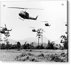 Flight Of Uh-1 Troopships Acrylic Print by Underwood Archives