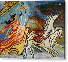 Flight Of Rukmini With Krishna Acrylic Print by Anand Swaroop Manchiraju