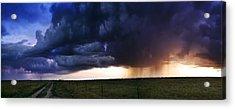 Flint Hills Storm Panorama  Acrylic Print