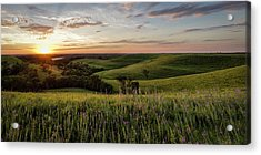 Flint Hills Sunset Pano Acrylic Print by Scott Bean
