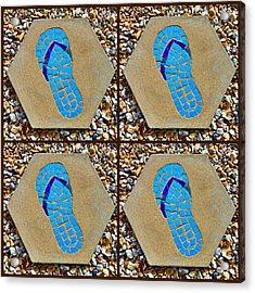 Flip Flop Square Collage Acrylic Print