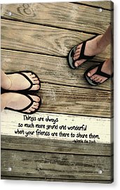 Flip Flops Quote Acrylic Print by JAMART Photography