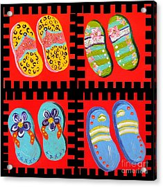 Flip Flops Times Four Acrylic Print by Eloise Schneider