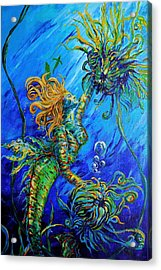 Floating Blond Mermaid Acrylic Print