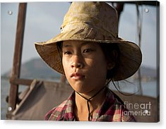 Floating Drink Seller Girl On The Tonle  Sap Lake In Cambodia Acrylic Print