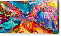 Floating Feather Swirls Acrylic Print by Claire Bull