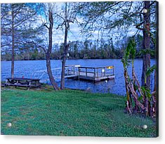 Floating Fishing Dock Acrylic Print by Bill Perry